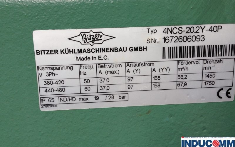 IS14-803 Bitzer Condensing Unit Nameplate