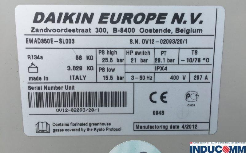 Daikin Chiller Nameplate