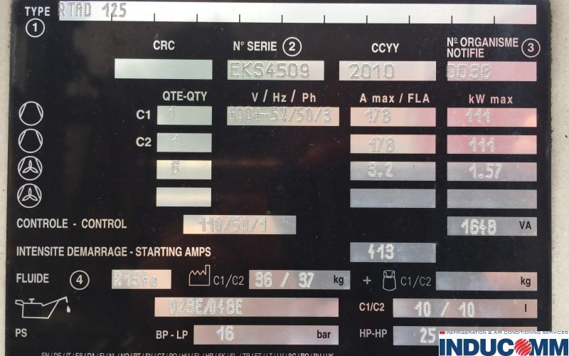 IS17 167 Trane Chiller Nameplate